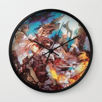 final fantasy Wall Clocks featuring Final Fantasy by Tamika