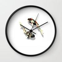 koi fish Wall Clocks featuring Koi fish by Rceeh