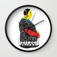 fat Wall Clocks featuring Fat Woman by R. Gorkem Gul