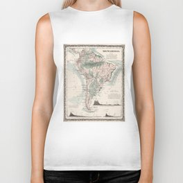 Vintage Map of South America (1858) Biker Tank