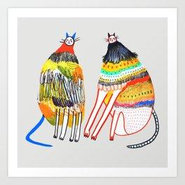 The Cats. cat art, cat illustration. Art Print