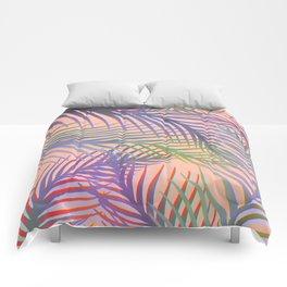 Palm Leaves Pattern - Purple, Peach, Blue Comforters