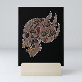 Cyberpunk Skull   Futuristic Death Tribal Mini Art Print