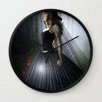 witch Wall Clocks featuring Witch by Julie Hoddinott