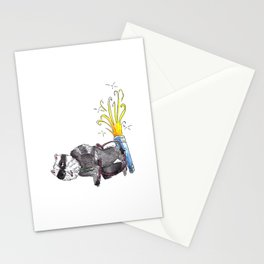 Stoned Raccoon Riding a Jetpack Stationery Cards
