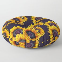 Sunflowers yellow navy blue elegant colorful pattern Floor Pillow