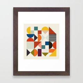 mid century retro shapes geometric Framed Art Print