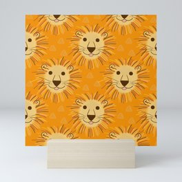 Lions in Flame Orange Mini Art Print