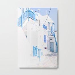 512. Shades of Blue, Mykonos, Greece Metal Print
