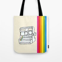 polaroid Tote Bags featuring Polaroid  by GetNaked