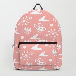 Mid Century Modern Atomic Boomerang Pattern Peach Backpack