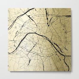 Paris France Minimal Street Map - Gold on Black Metal Print