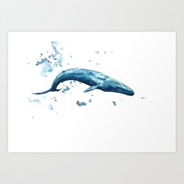 Blue Whale Watercolor Painting Art Print