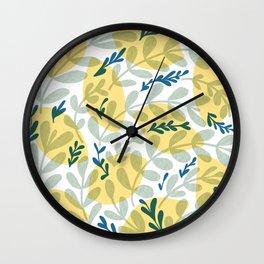Lemons and Lush Greenery Wall Clock