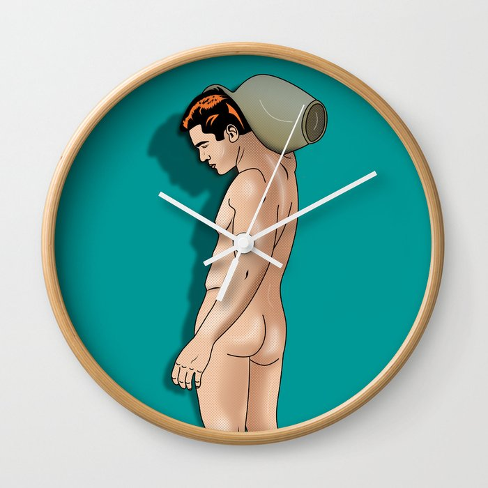 comics male nude art , aquarius Wall Clock