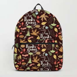 Hand drawn Happy Thanksgiving  poster. Backpack