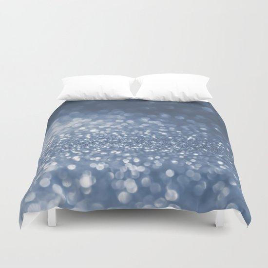 Sparkling sea foam- Blue glitter backround Duvet Cover