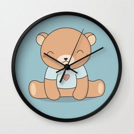 Kawaii Cute Teddy Brown Bear Wall Clock