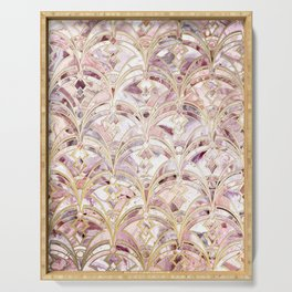 Dusty Rose and Coral Art Deco Marbling Pattern Serving Tray
