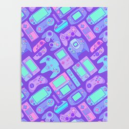 Video Game Controllers in Cool Colors Poster