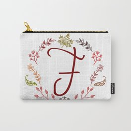 Floral F letter Carry-All Pouch