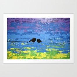 love birds wall canvas art print for sale original contemporary Art Print