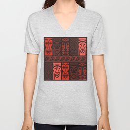 Lava Red Tikis! Unisex V-Neck