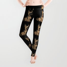 Cute German Shepard Dog Cartoon Leggings