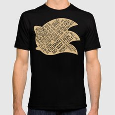 Sonic the Hedgehog Typography Mens Fitted Tee Black LARGE