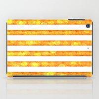duvet cover iPad Cases featuring Golden Glitter Stripes Duvet Cover by Corbin Henry