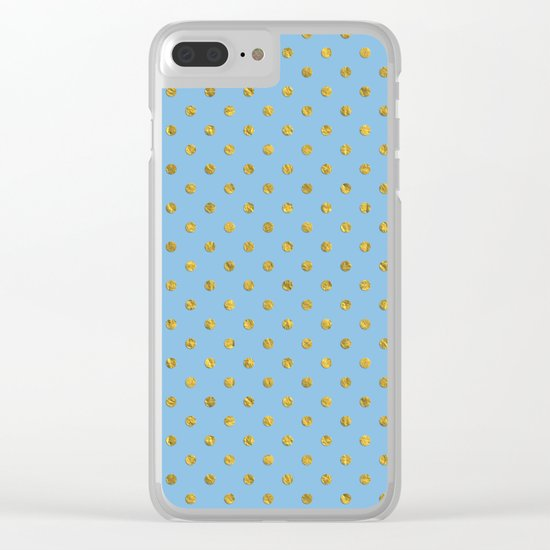 Gold polkadots on sky blue background Clear iPhone Case