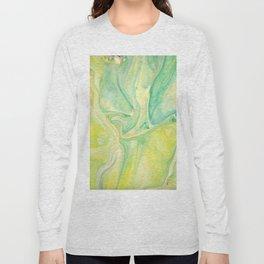 Fluid Nature - Lemon & Lime Sorbet - Acrylic Pour Art Long Sleeve T-shirt