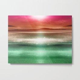 """Rose Orange Sky over Teal Emerald South Sea"" Metal Print"