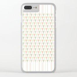 Modern pastel orange green triangles stripes pattern Clear iPhone Case