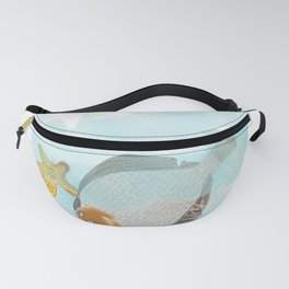 Anemone Sole fish and star fish in the deep blue Fanny Pack