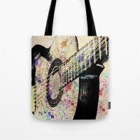 guitar Tote Bags featuring Guitar by Del Vecchio Art by Aureo Del Vecchio