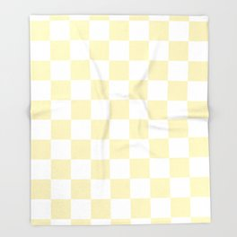 Checkered - White and Blond Yellow Throw Blanket