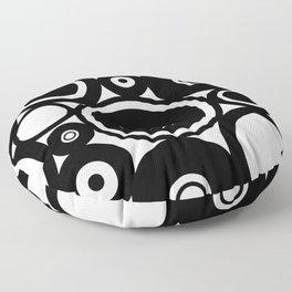 Retro Black White Circles Pop Art Floor Pillow