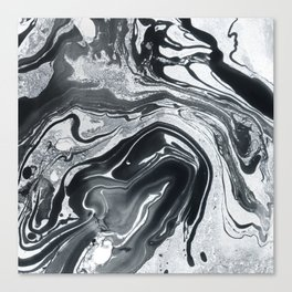 Marble in Black Ink Canvas Print