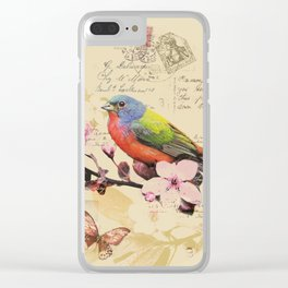Vintage illustration with bird and butterfly Clear iPhone Case