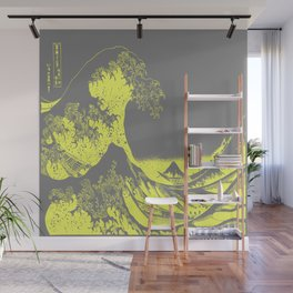 The Great Wave Yellow & Gray Wall Mural