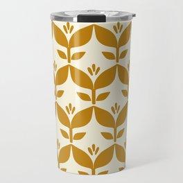 Golden retro tulip floral Travel Mug