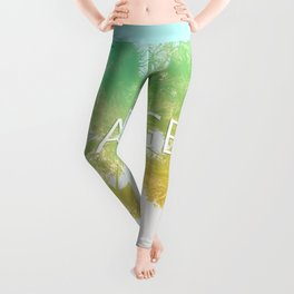 Retro Vintage Ombre Los Angeles, Southern California Palm Tree Colored Print Leggings