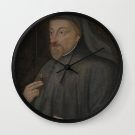 Vintage Geoffrey Chaucer Portrait Painting Wall Clock