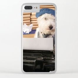 The Writer Dog Westie at the Typewriter Clear iPhone Case