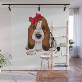 Cute puppy girl with red bow .Dog lovers gift idea  Wall Mural