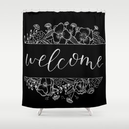 Welcome Florals Black Shower Curtain