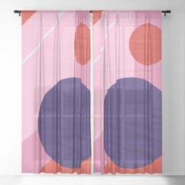 Abstract geometry with circles Sheer Curtain