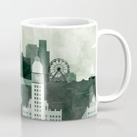 travel poster Mugs featuring Chicago Travel Poster Illustration by ClaireIllustrations