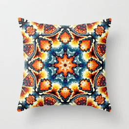 Colorful Concentric Motif Throw Pillow